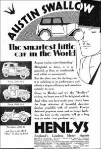 Publicidad del Austin Seven Swallow - 1930