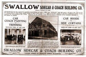 La fabrica Swallow Sidecar Coach en 1922