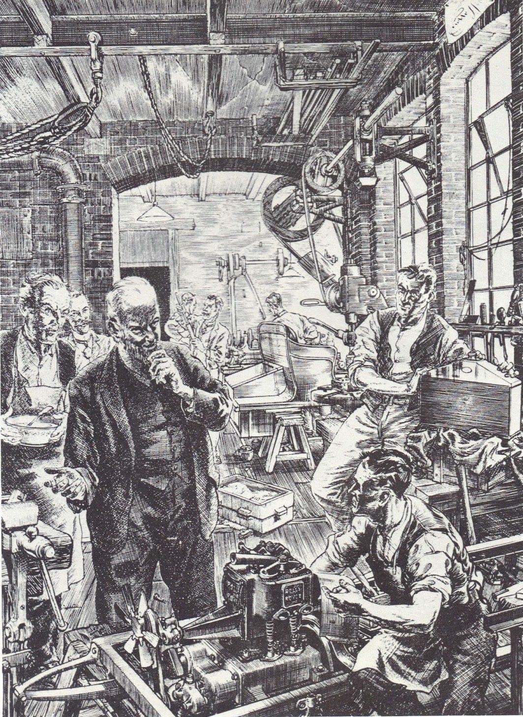 Henry Royce en su primera fábrica de Manchester